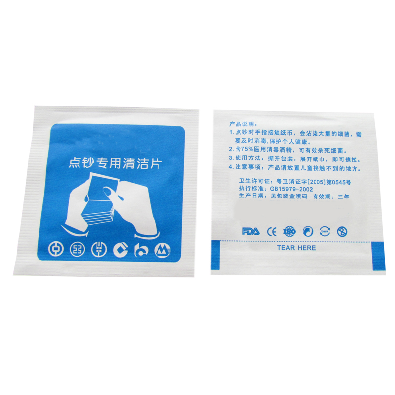 cash counting cleaning wet wipes