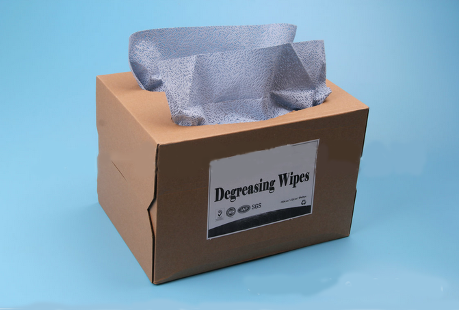 Boxed packing blue industrial wipes