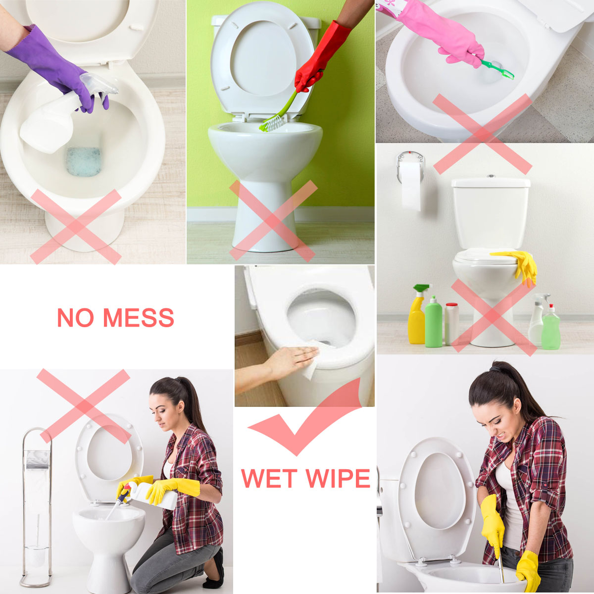Cleaning and antibacterial wet wipes for toilet