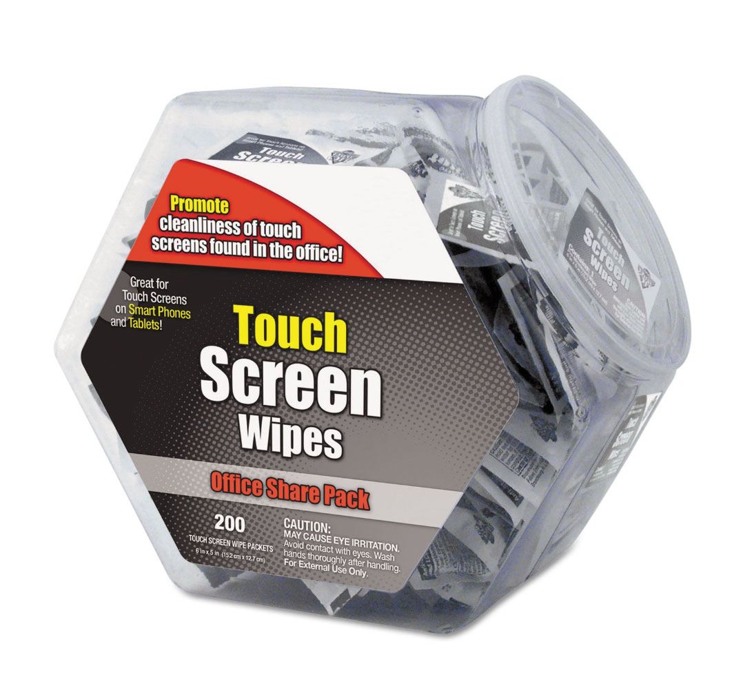 Touch screen cleaning wipes in office share Jar